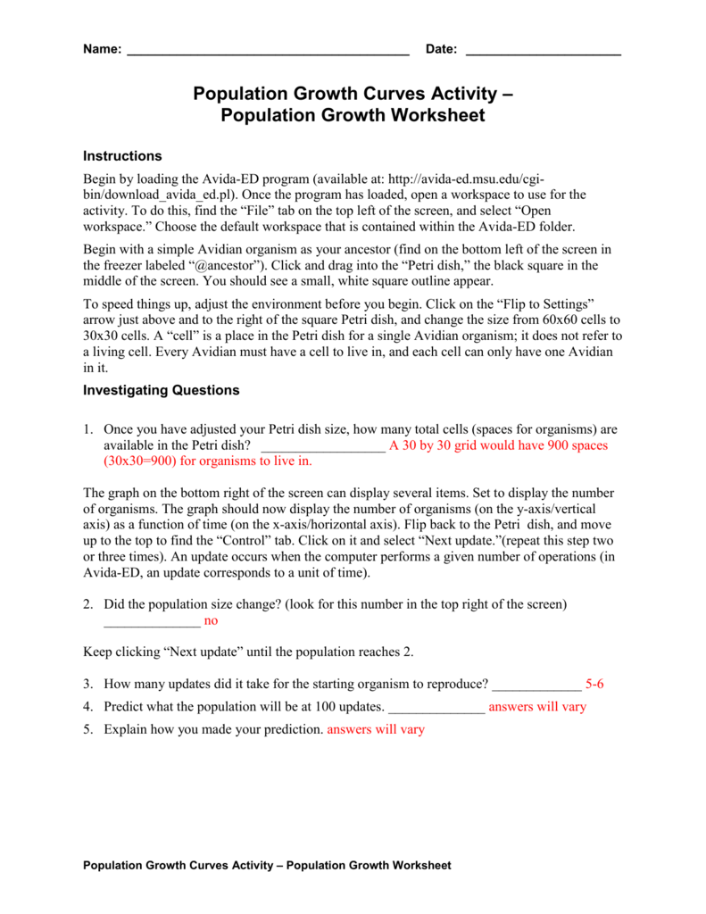 Population Growth Worksheet Answers Doc