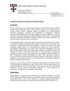 Postdoctoral Research Position in Bioinformatics