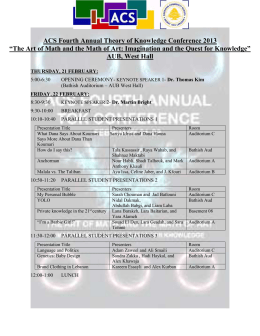 ACS Fourth Annual Theory of Knowledge Conference 2013