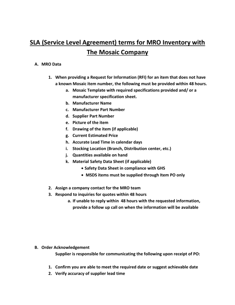 Sla Service Level Agreement Terms For Mro Inventory With The