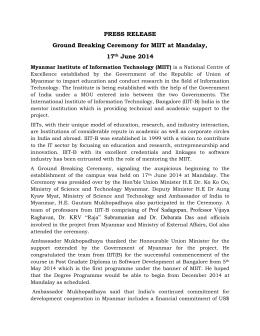 PRESS RELEASE Ground Breaking Ceremony for MIIT at Mandalay