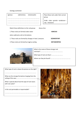 Geology Assessment Worksheet