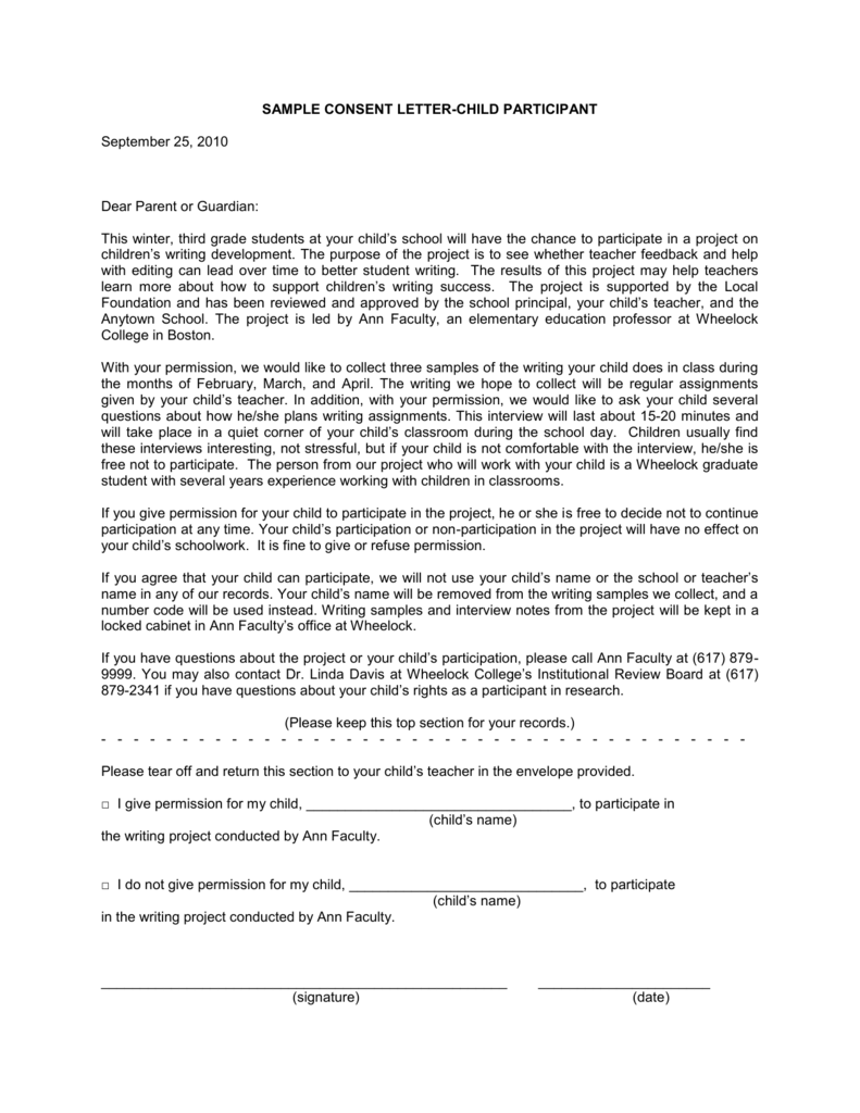 sample consent letter-child participant