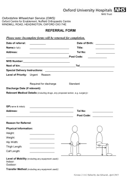 Referral form for Oxfordshire Wheelchair Service