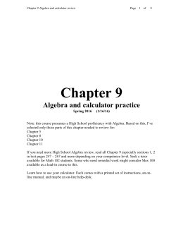 Chapter 9 Algebra and calculator practice Spring 2016