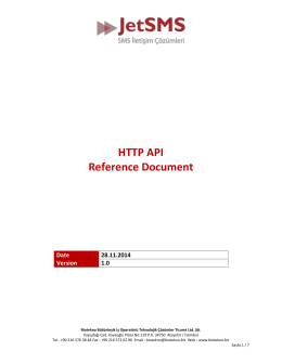 HTTP API Reference Document Date 28.11.2014 Version 1.0 Table
