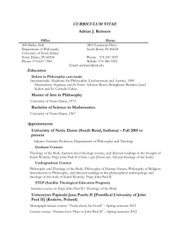 Curriculum Vitae - University of Notre Dame