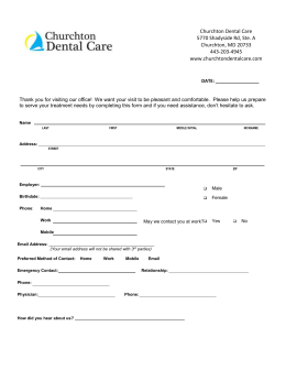 New Patient Forms - Churchton Dental Care