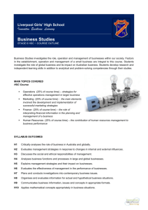 Business Studies Outline - Liverpool Girls` High School
