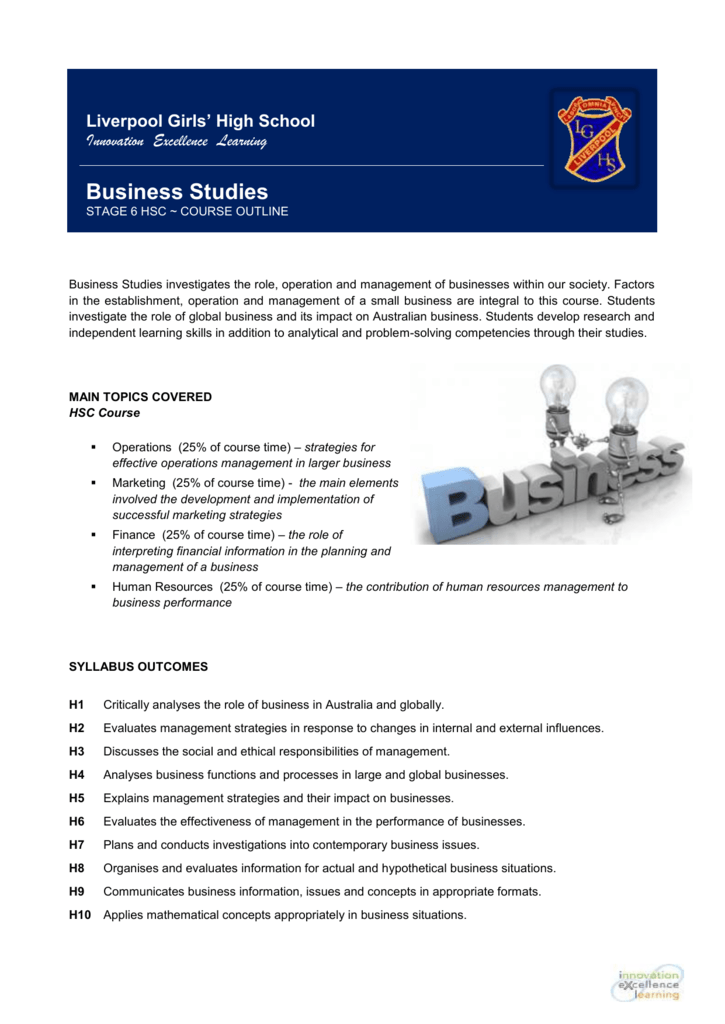 Business Studies Outline - Liverpool Girls` High School