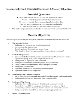 Unit One Essential Questions and Mastery Objectives Ocean