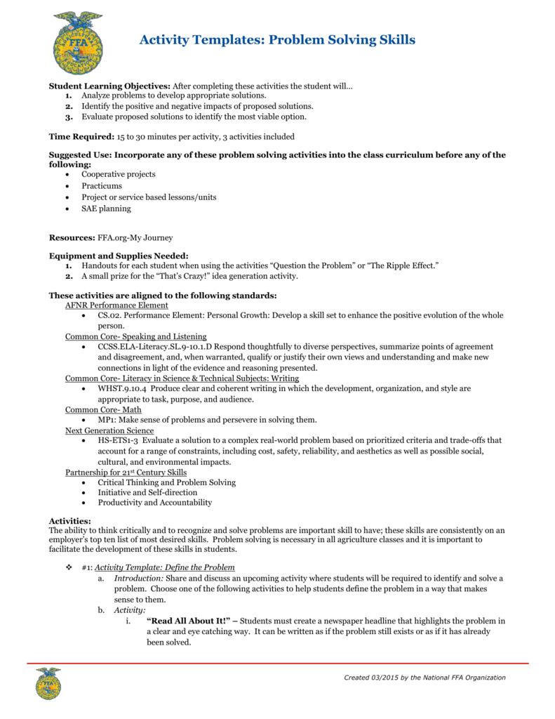 problem solving skills lesson word 2007 docx