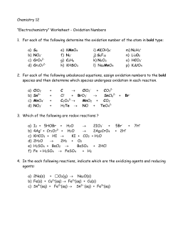 ASSIGNING OXIDATION NUMBERS WORKSHEET