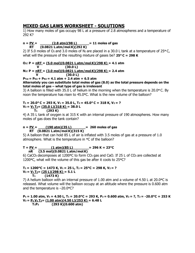 Worksheets Mixed Gas Laws Worksheet mixed gas laws worksheet solutions