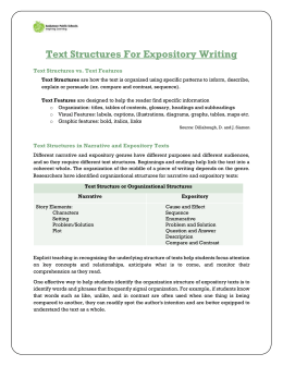 Text Structures For Expository Writing