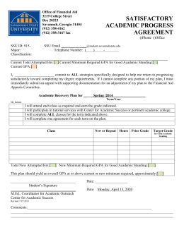 satisfactory academic progress agreement