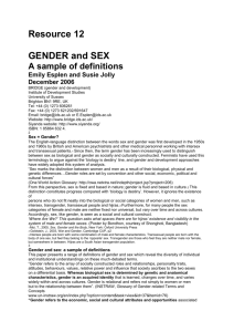 Resource 12 GENDER and SEX A sample of