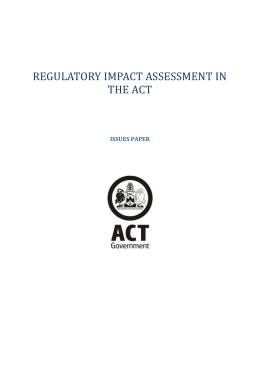 Regulatory Impact Assessment in the ACT