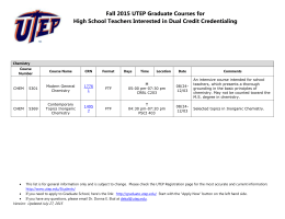 Fall 2015 UTEP Graduate Courses for High School Teachers