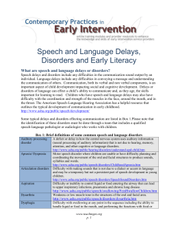 Speech and Language Delays and Disorders