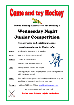 Wednesday Flyer Dubbo Hockey Association are running a