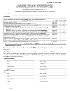 Required Records Checklist - Florida Hurricane Catastrophe Fund
