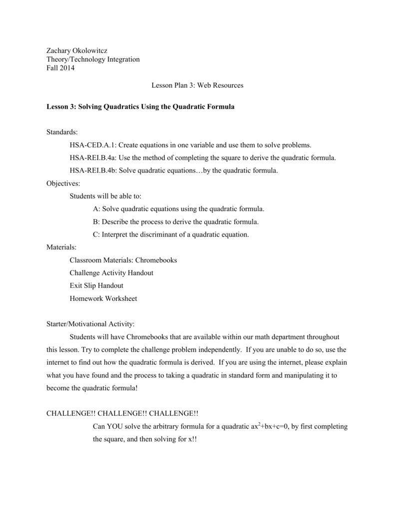 L3 Solving Quadratics Using The Quadratic Formula