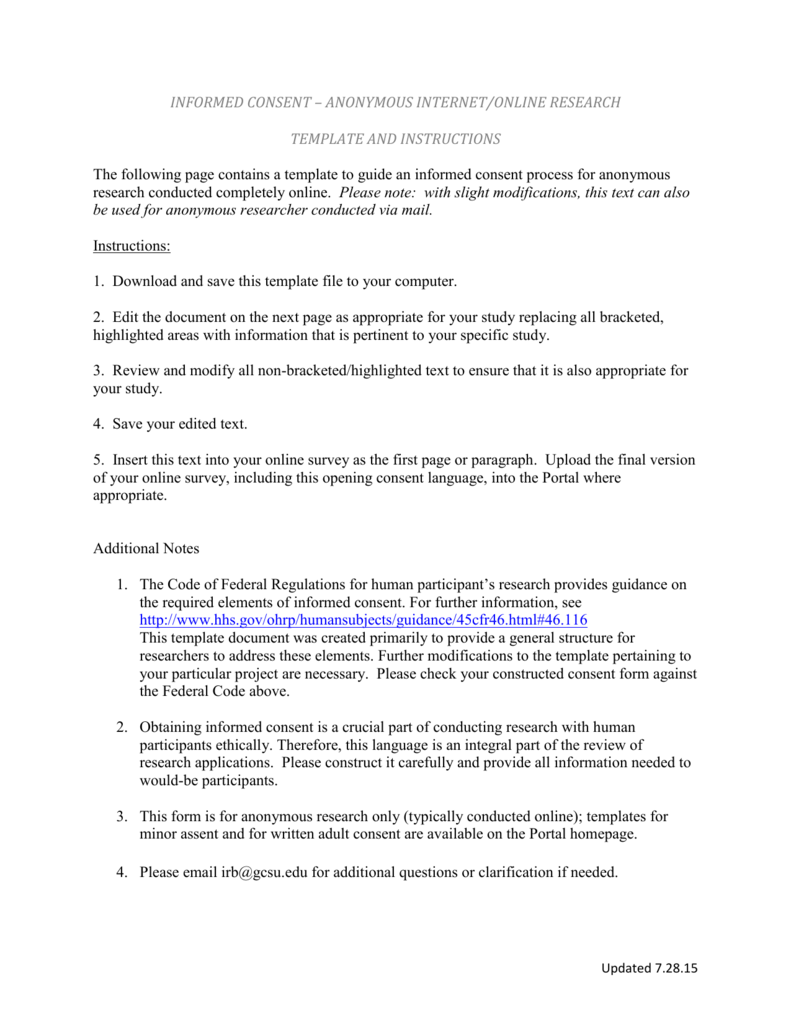 AnonymousOnline Consent template and instructions – Survey Consent Form