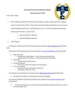 Minnesota State University, Mankato IFC Agenda Thursday, January