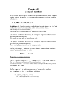 Chapter (1) Complex numbers