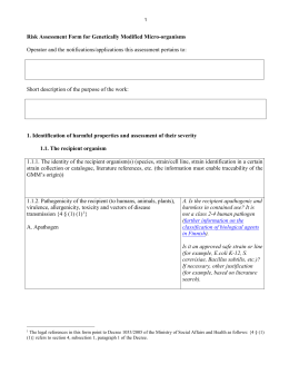 Risk Assessment Form for Genetically Modified Micro