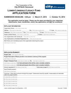 Applicant Information - City of North Vancouver
