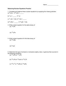 Balancing and Predicting Nuclear Equations Workshop ...
