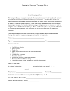 Direct billing Consent form - Goodwin Massage Therapy Clinic