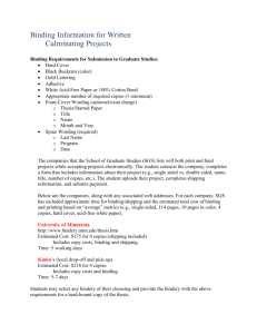Culminating Project Binding Information