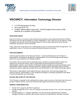 VACANCY: Information Technology Director