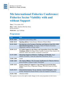 Programme of the 5th International Fisheries Conference: Fisheries
