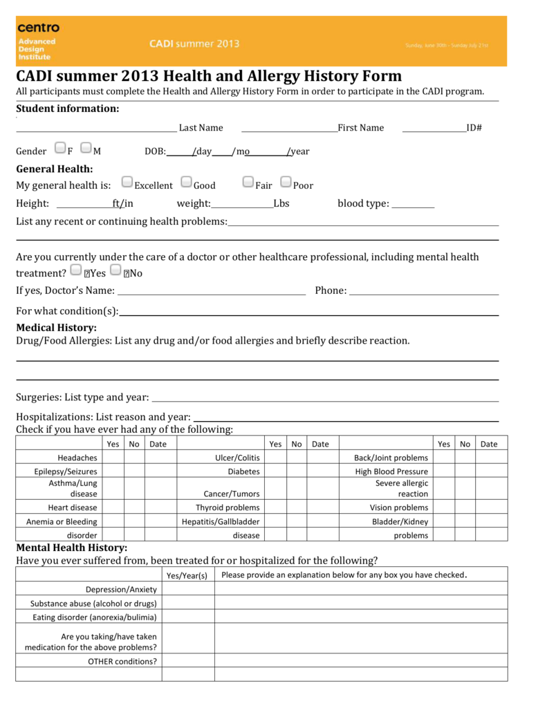 health and allergy history form