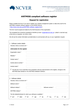 registration form - National Centre for Vocational Education Research