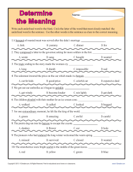 Determine the Meaning | Context Clues Worksheets