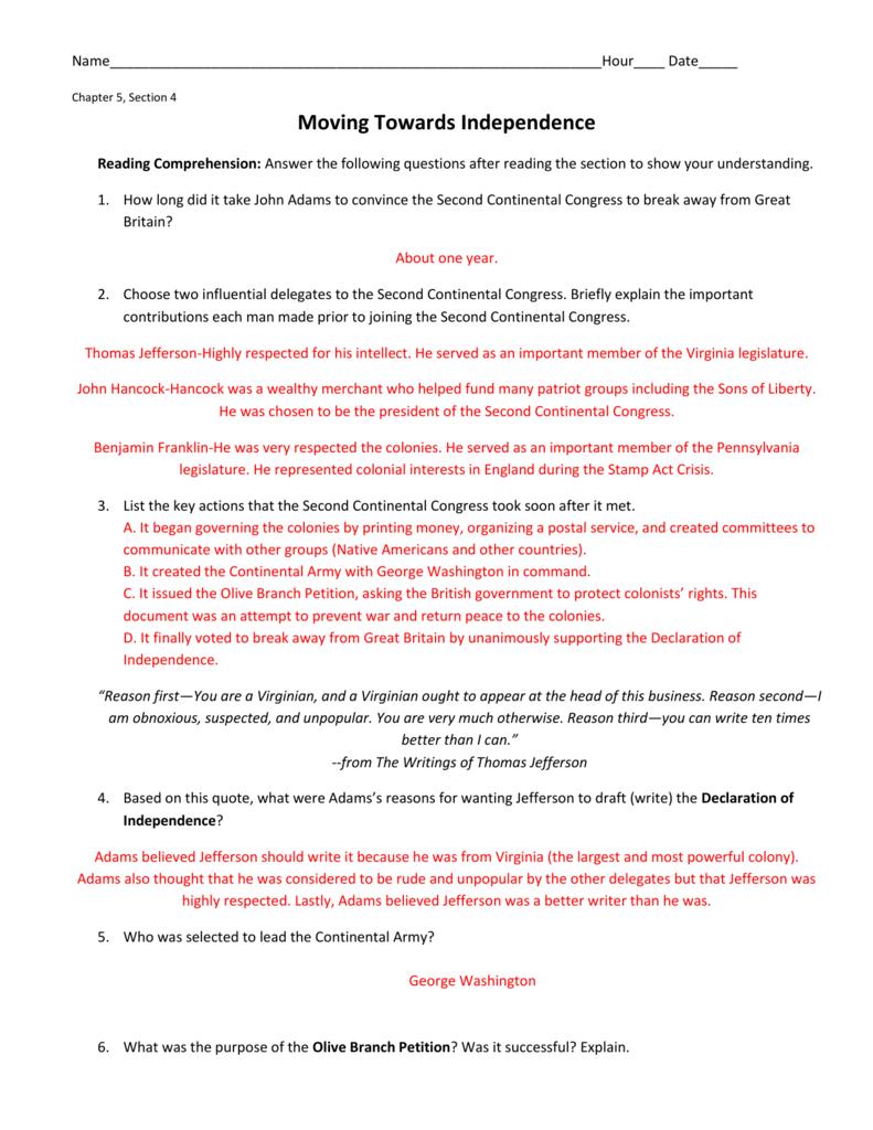 worksheet Declaration Of Independence Grievances Worksheet ch 5 4 worksheet key