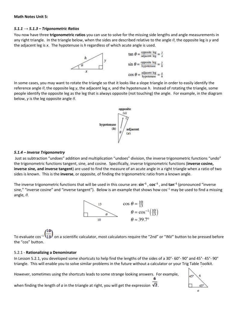 worksheet Inverse Trigonometric Ratios worksheet inverse trigonometric ratios gabrieltoz worksheets for math notes unit 5