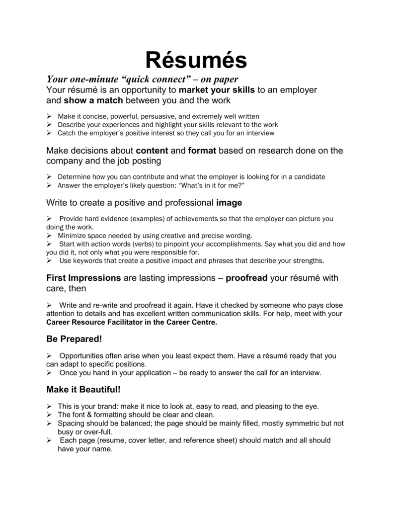 Resumes Your One Minute Quick Connect On Paper Resume Is An Opportunity To Market Skills Employer And Show A Match Between You The