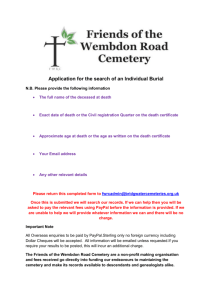 Application for the search of an Individual Burial