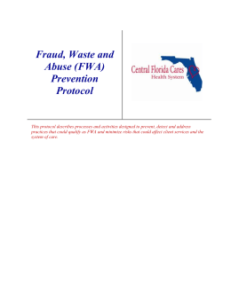 (FWA) Prevention Protocol - Central Florida Cares Health System