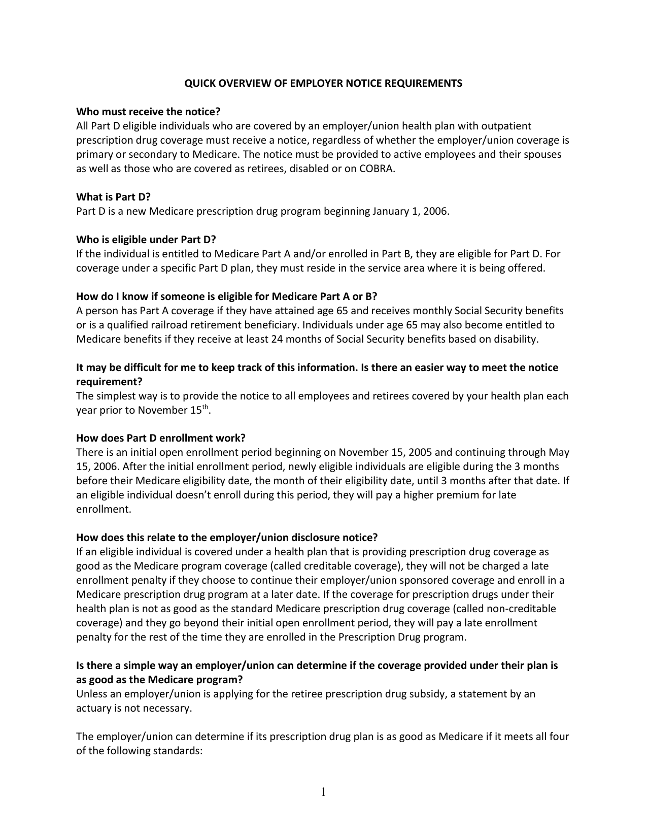 Quick Overview of Employer Notice Requirements