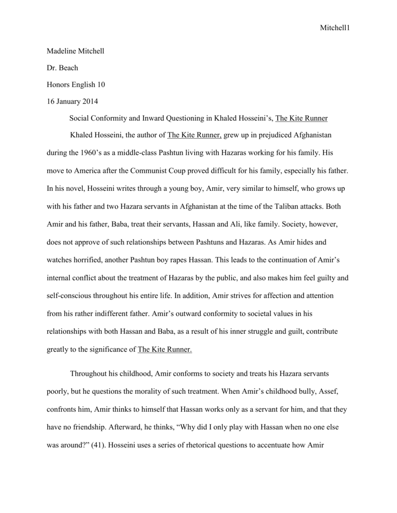 Culture and clashes in kite runner essay