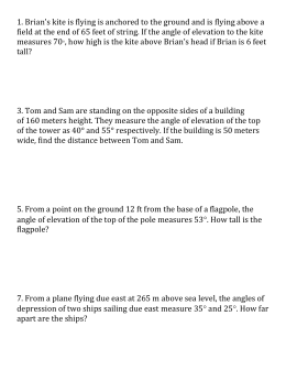 Angle Of Elevation Depression Trig Worksheet 4