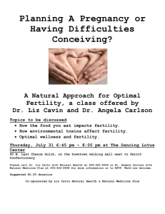 A Natural Approach for Optimal Fertility, a class offered by Dr. Liz
