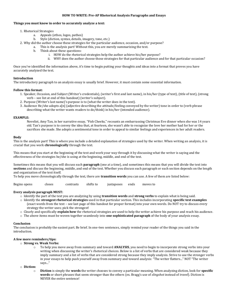 HOW TO WRITE Pre AP Rhetorical Analysis Paragraphs And